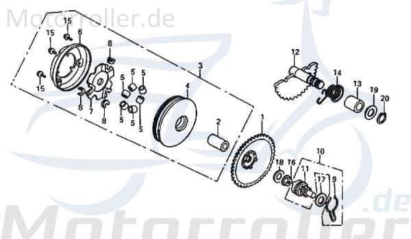 Nockenplatte Rex 50ccm 2Takt DAE-22131-SE5-0002 Motorroller.de Nockenscheibe Reglerplatte Nockenscheibensteuerung 1E40QMB Scooter Drive 50