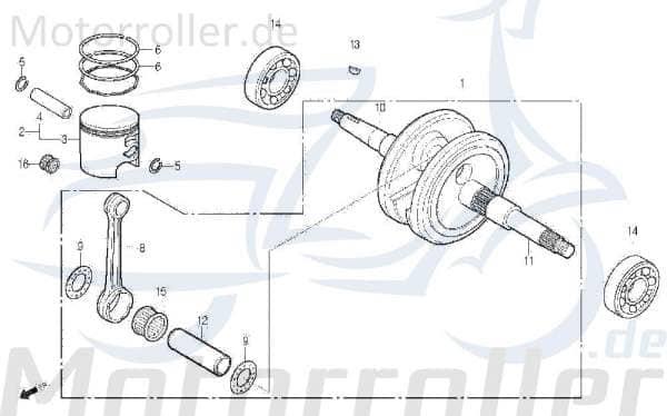 Kolbenring D40mm DAE-13121-SE4-0000-M1 Motorroller.de